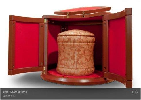 urna in porcellana rossa, cremazioni