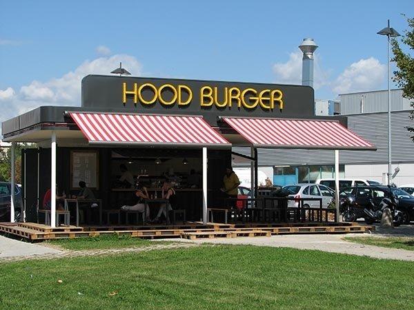 tende a righe per fast-food