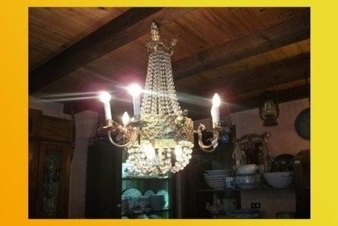 lampadario di cristallo vintage