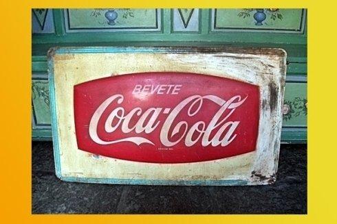 targa vintage con scritto bevete Coca Cola
