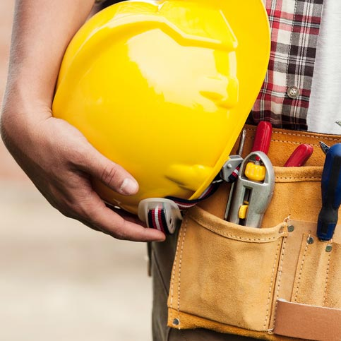 construction helmet and tools