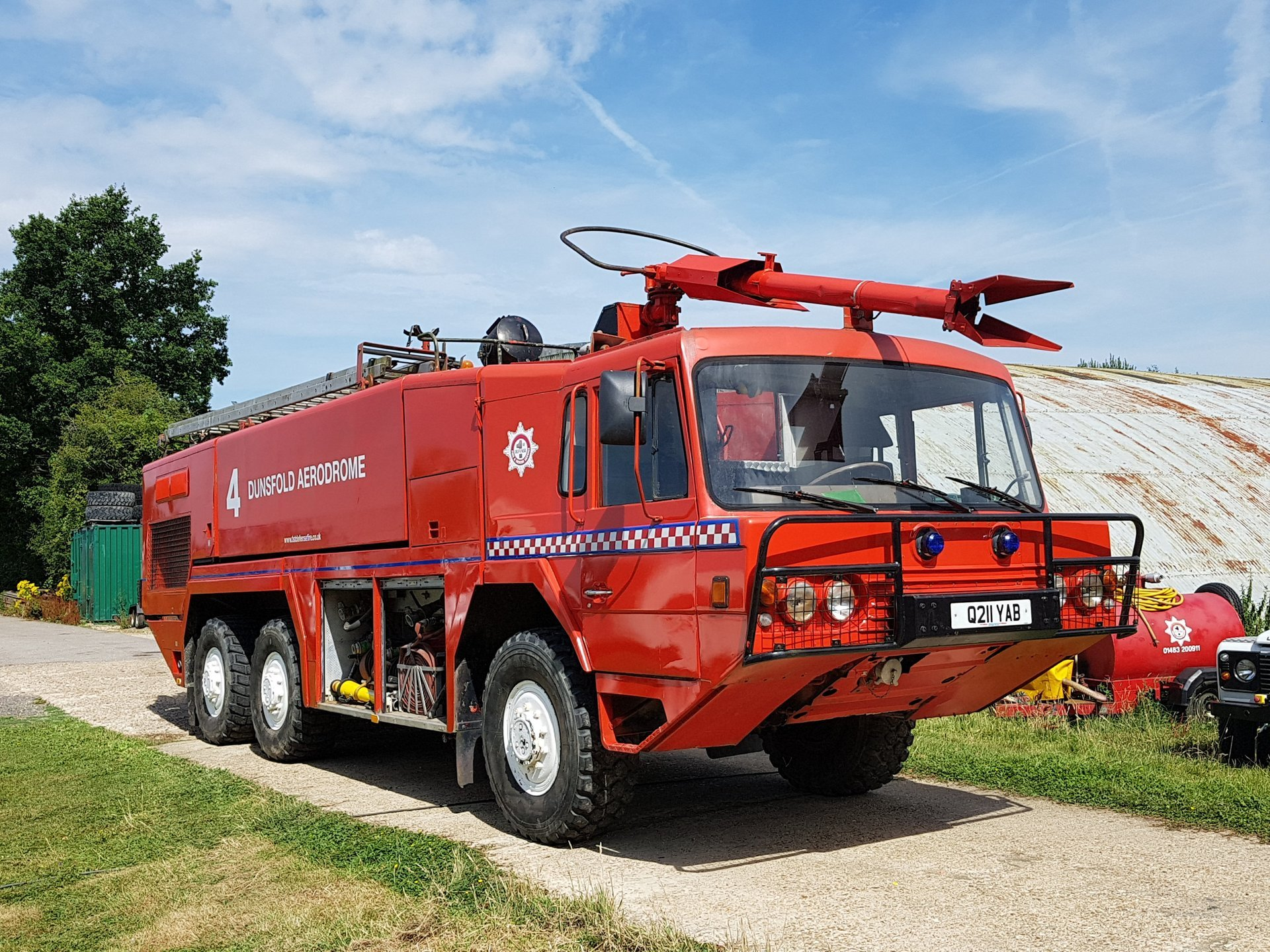 red colour security vehicle