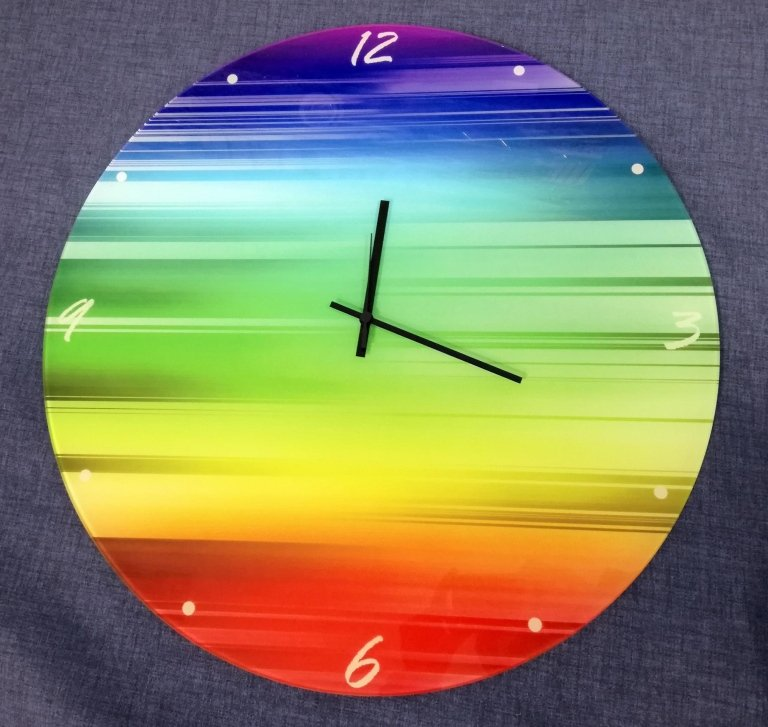 Orologio tondo in vetro