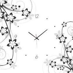 Orologio in vetro motivi floreali