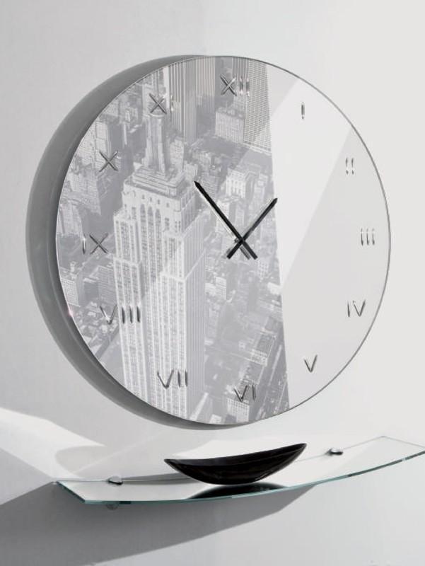Orologio tondo in vetro con NewYork