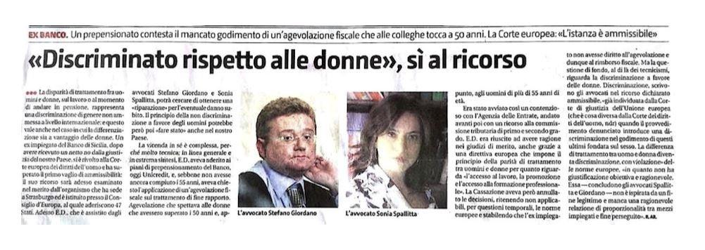 notizia sul giornale avv. Giordano