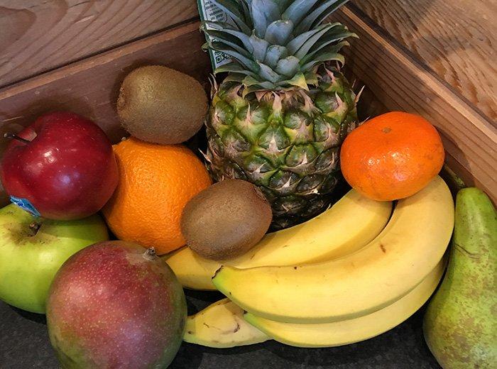 Fresh fruits and vegetables in basket