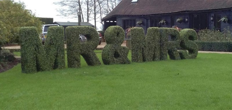 Mr and Mrs topiary letters