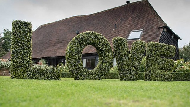 Privet hedge cut in the shape of the word LOVE