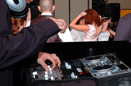 DJ console at a party