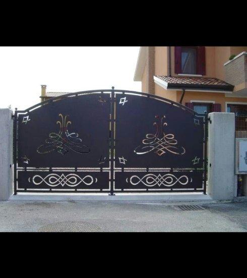 cancello lamiera, cancello in lamiera, lamiera con disegno laser