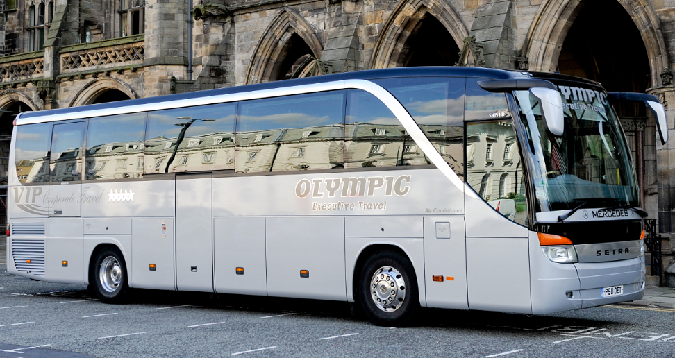 The Olympic Executive Travel coach outside Rochdale town hall