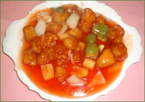 A sweet and sour chicken dish from Lee's Cantonese Kitchen