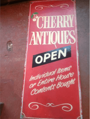 cherry antiques Open sign