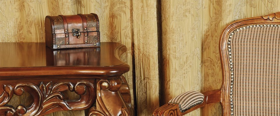 antique table, chair and wooden box