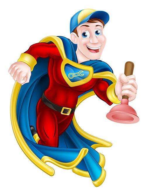 Cartoon representation of local plumber from Platinum Hydro-Jetting