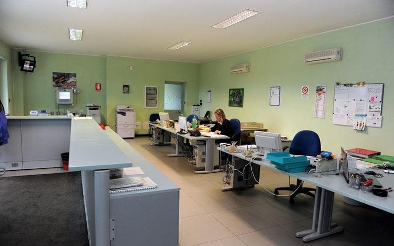 ufficio con pareti verdi