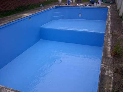 blue coloured pool
