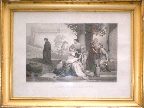 un dipinto in bianco e nero con una cornice dorata