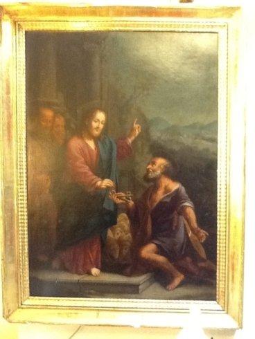 new un dipinto raffigurante un uomo in piedi e un altro