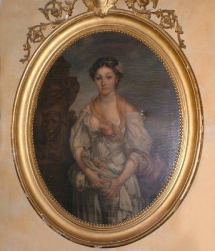un dipinto di una donna con una cornice dorata