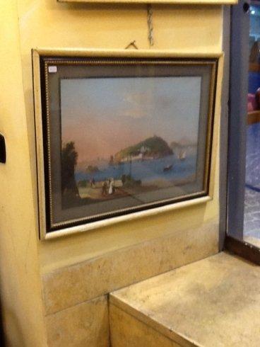 un dipinto del mare e delle barche sulla spiaggia
