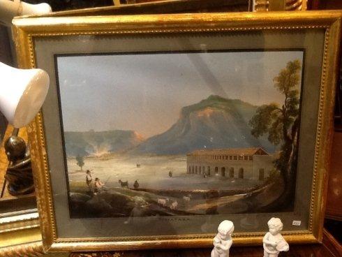 un dipinto di una stalla e delle montagne