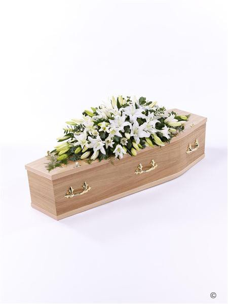 View of a wooden coffin