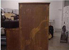 damaged dresser before repairs