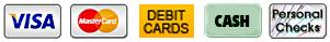 Payment Icons - Visa, MasterCard, Debit cards, cash, check