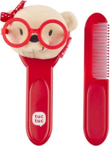 Set spazzole per neonati rosso con orsacchiotto
