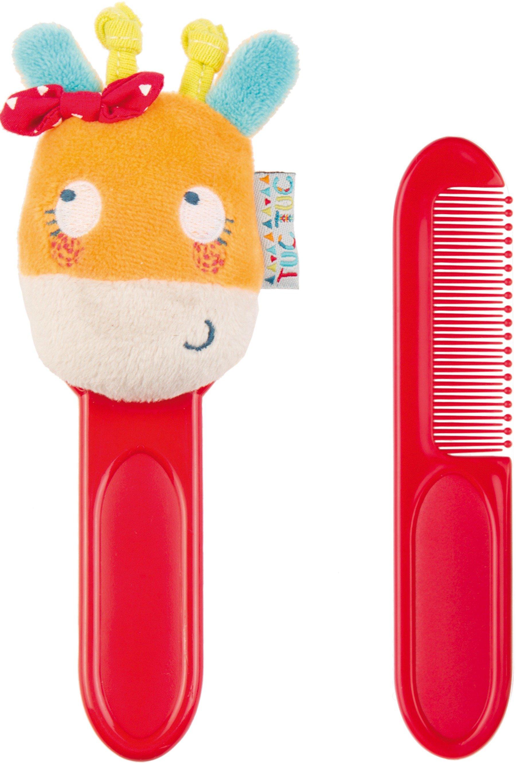 Set spazzole per neonati rosso con pupazzetto arancione