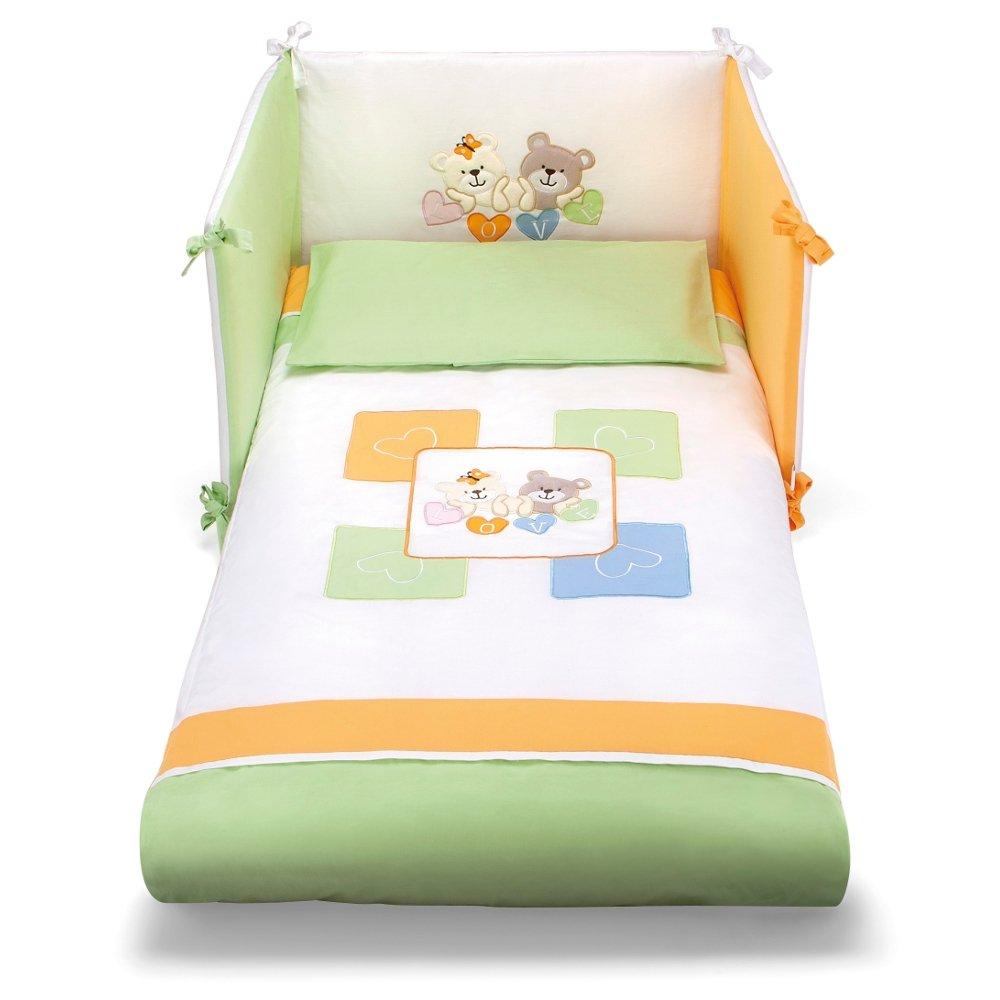 Piumone e paracolpi da neonato verde, bianco e arancio