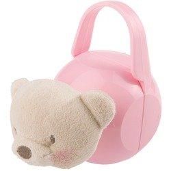 Porta-ciuccio rosa con orsetto