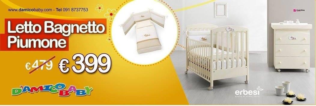 un brochure con scritto Letto bagnetto piumone € 399- puericoltura-provincia di palermo