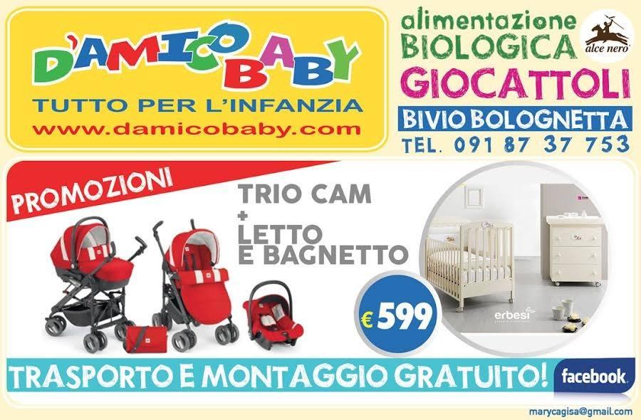 una brochure con dei passeggini e un letto da D'Amico Baby tutto per l'infanzia