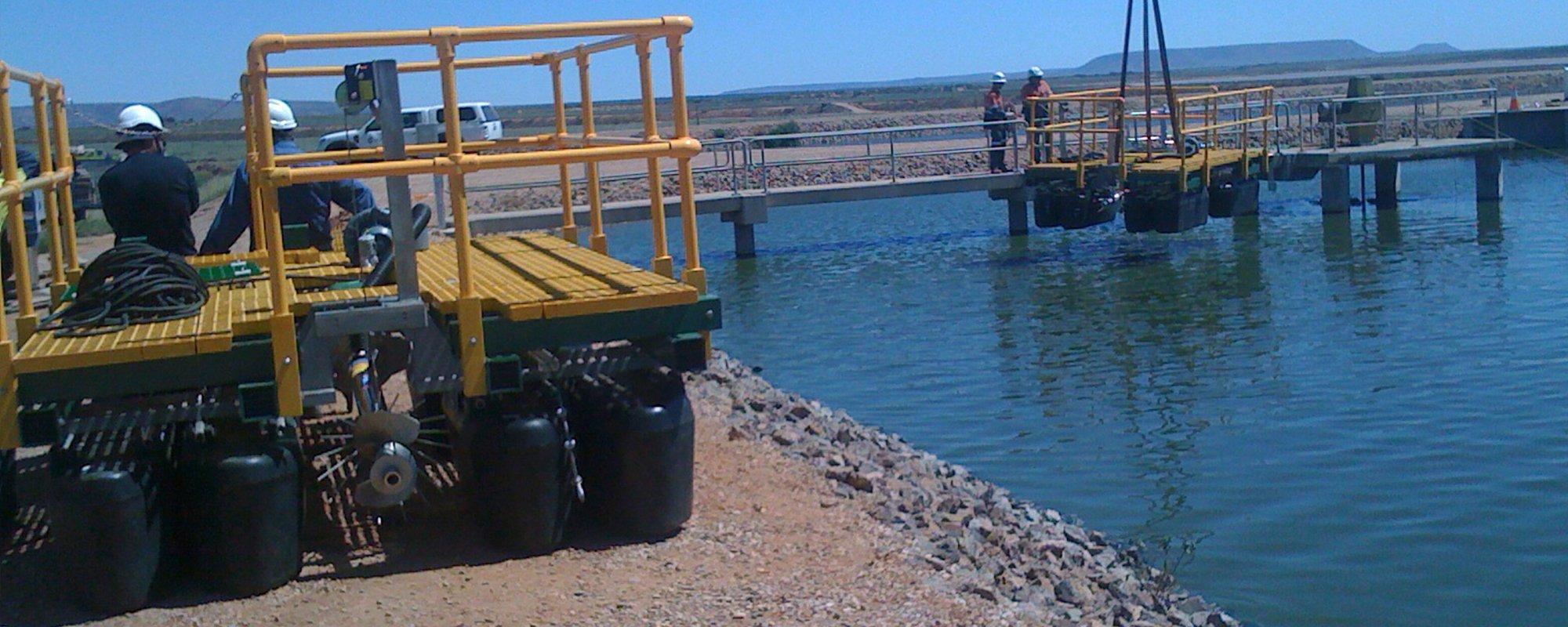Wastewater aeration system being insstalled