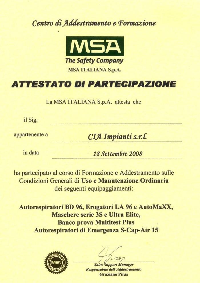 Attestato MSA