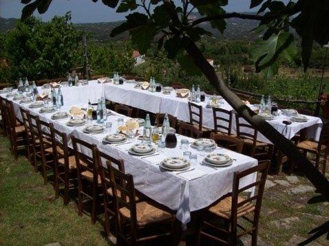 tavoli apparecchiati per rinfresco in giardino