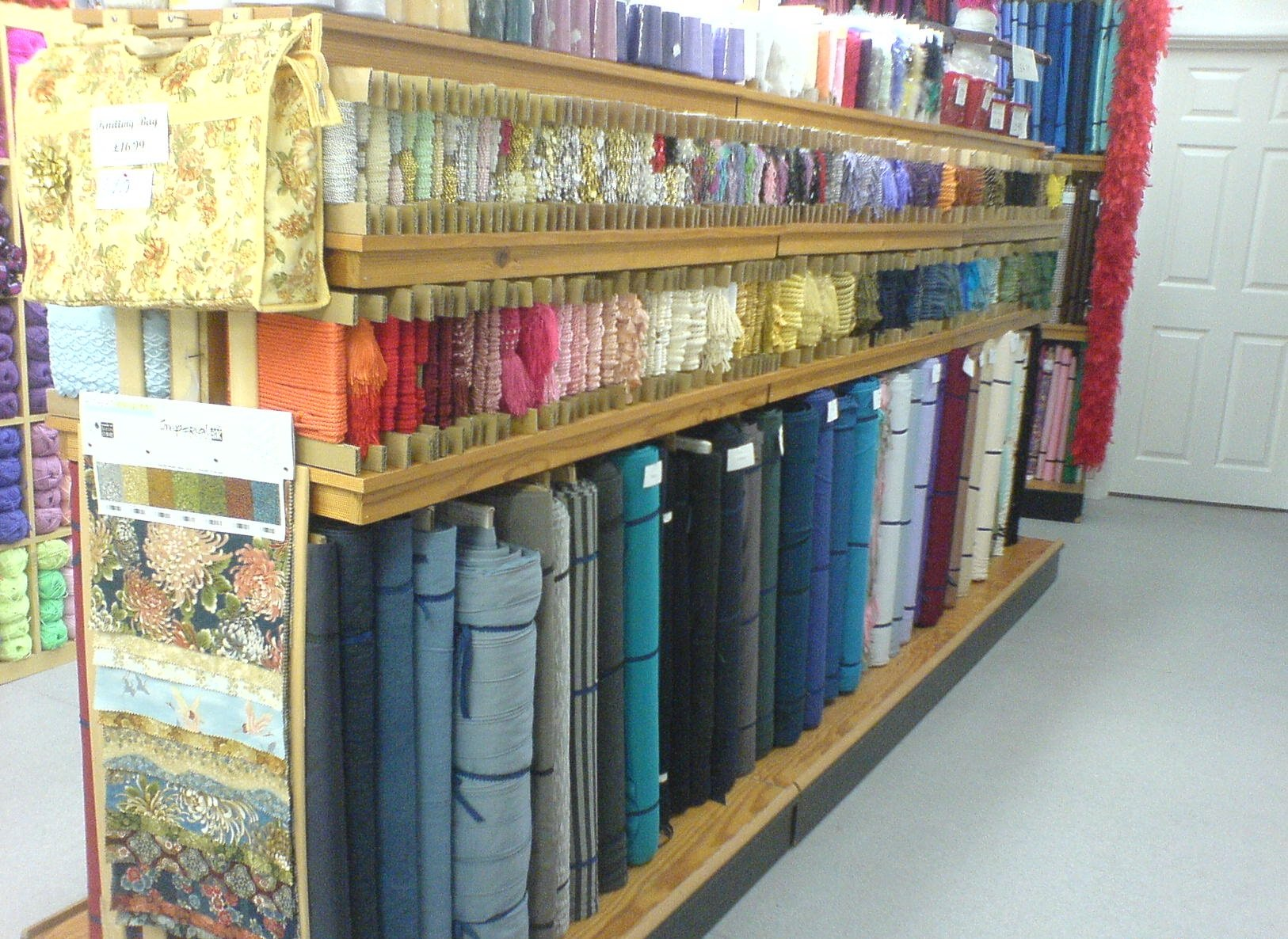 Lots of patterned material in The Sewing Shop