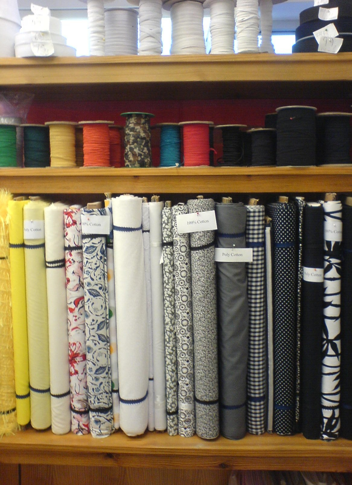 Patterned material in the Sewing Shop
