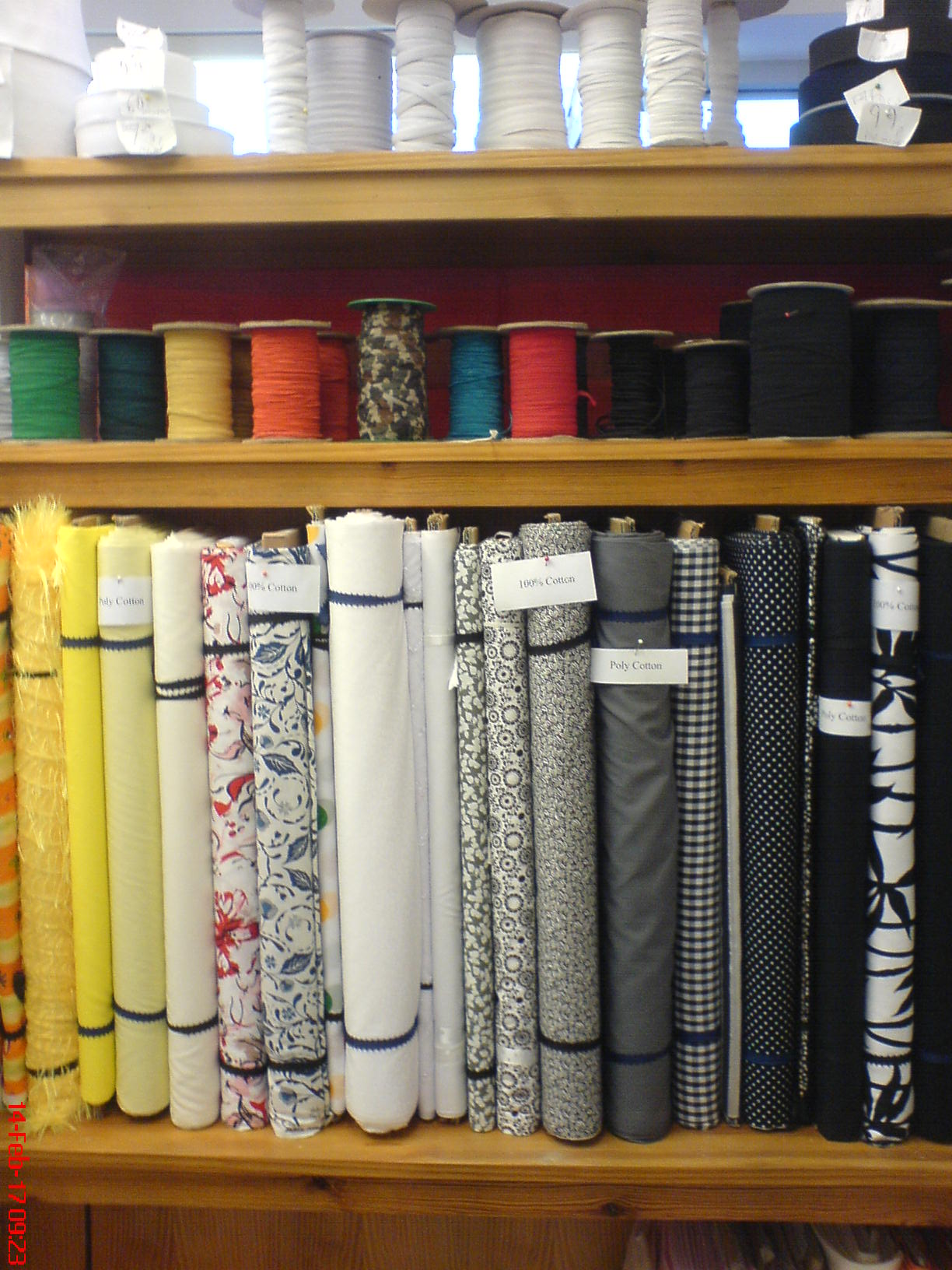 Coloured material in threads in The Sewing Shop