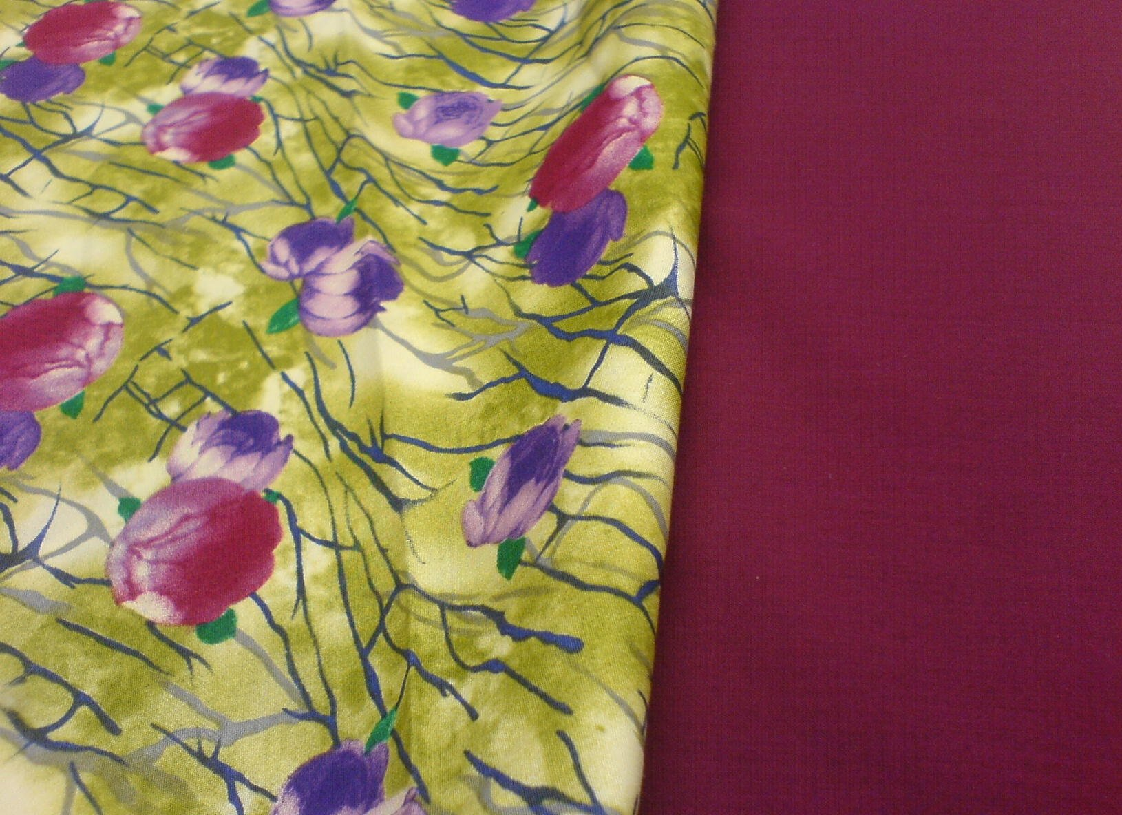 A floral patterned material in The Sewing Shop