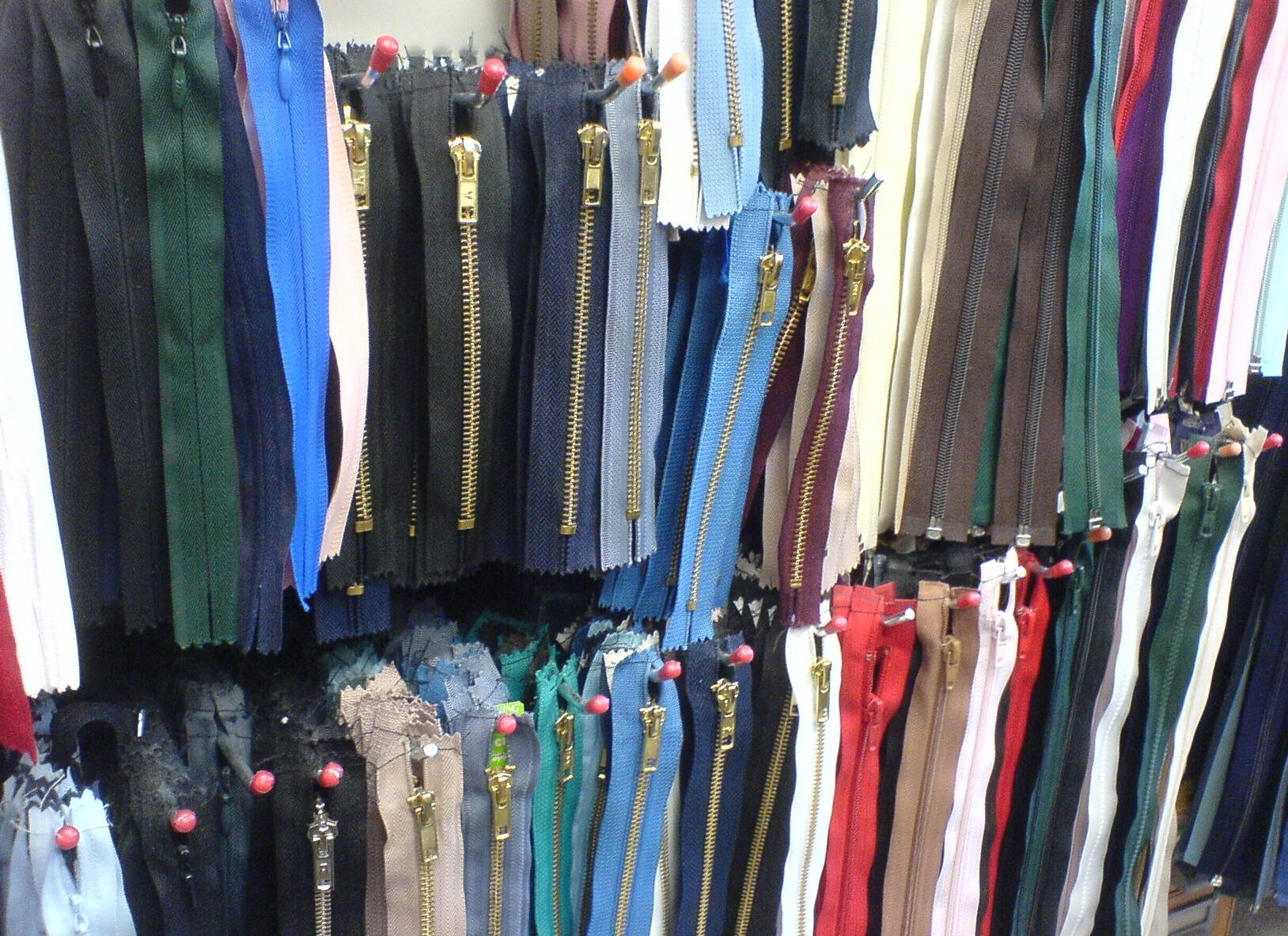 Zips on display in The Sewing Shop
