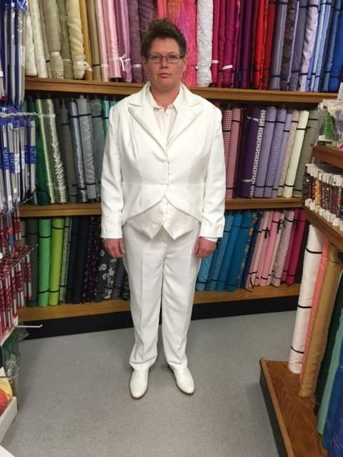 Front of a wedding suit commissioned by The Sewing Shop
