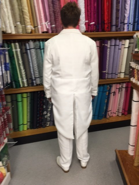 Back of a wedding suit commissioned by The Sewing Shop