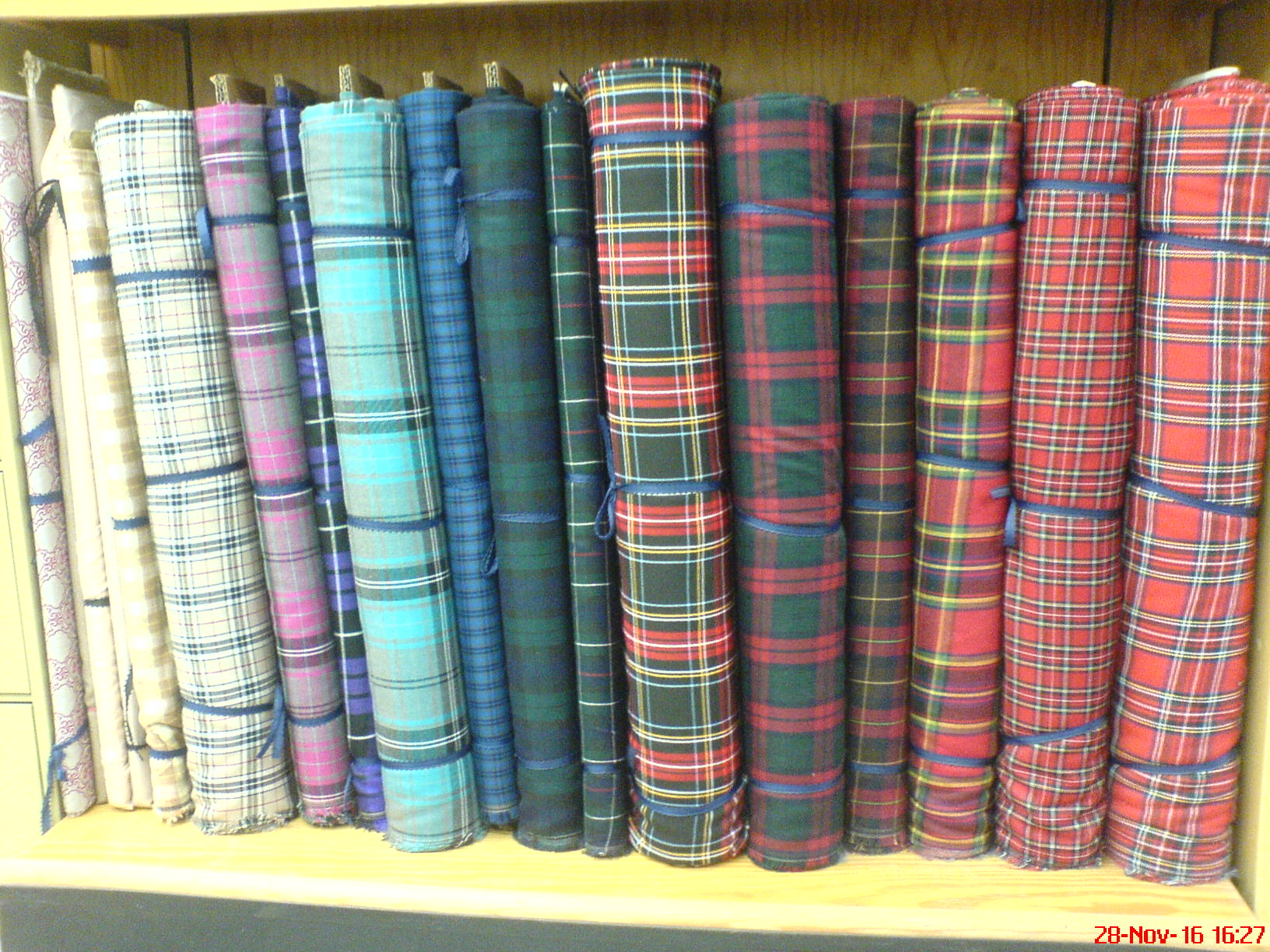 Material with a tartan pattern