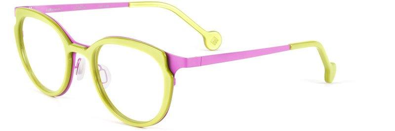 occhiali da lettura verde pisello con bacchette color viola