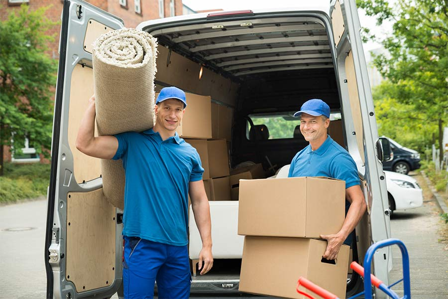 panther removals and storage workers carrying carpet and cardboard boxes