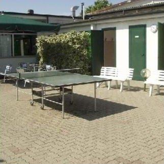 un tavolo da ping pong all'aperto, una siepe verde e due panchine di plastica